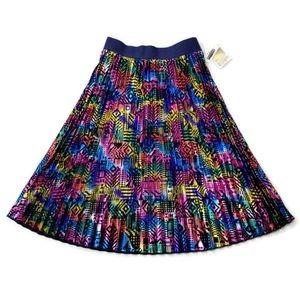 Pleated Metallic Geometric Midi Skirt